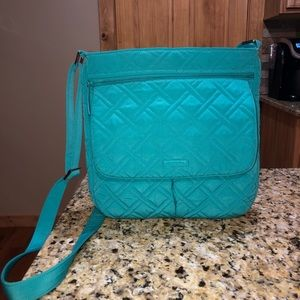 Vera Bradley Double Zip Mailbag In Turquoise Sea